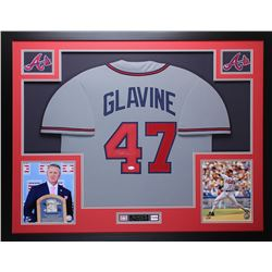 Tom Glavine Signed Braves 35x43 Custom Framed Jersey (JSA COA)