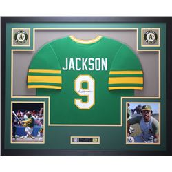 Reggie Jackson Signed Athletics 35x43 Custom Framed Jersey (JSA COA)