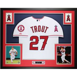 """Mike Trout Signed Angels 35"""" x 43"""" Custom Framed Jersey (MLB)"""