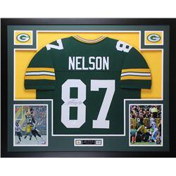 Jordy Nelson Signed Packers 35x43 Custom Framed Jersey (JSA COA)