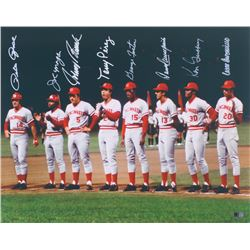 """Reds """"Big Red Machine"""" 1975 World Series 16x20 Photo Signed by (8) With Pete Rose, Joe Morgan, Tony"""