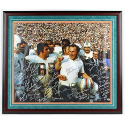1972 Dolphins Signed 31.75x36.75 Custom Framed Canvas Display Signed by (44) with Larry Little, Bob