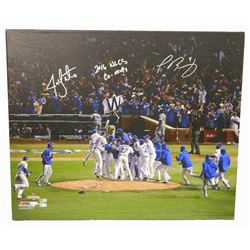 "Jon Lester  Javier Baez Signed ""Chicago Cubs Wrigley Field Team Celebration"" 20x24 Canvas Inscribed"