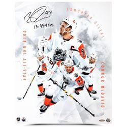 "Connor McDavid Signed Oilers ""All-Star Collage"" 16x20 Photo Inscribed ""13.454 Sec."" (UDA COA)"
