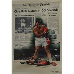 Muhammad Ali Signed 28x39 Giclee On Canvas Gold Champions Proof #7/60 (Online Authentics COA)