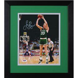 Larry Bird Signed Celtics 13.75x15.5 Custom Framed Photo Display (PSA COA)