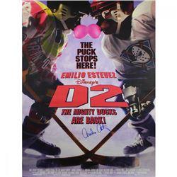 "Emilio Estevez Signed ""D2: Mighty Ducks"" 27x40 Poster (Schwartz COA)"
