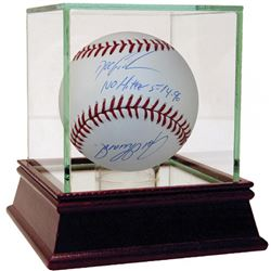 """Dwight Gooden  Joe Girardi Signed Baseball Inscribed """"No Hitter""""  """"5-14-1996"""" with High Quality Disp"""