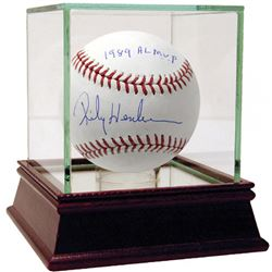 """Rickey Henderson Signed Baseball Inscribed """"1989 AL MVP"""" with High Quality Display Case (Steiner COA"""