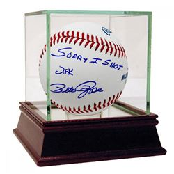 """Pete Rose Signed Baseball Inscribed """"Sorry I Shot JFK"""" with High Quality Display Case (Steiner COA)"""