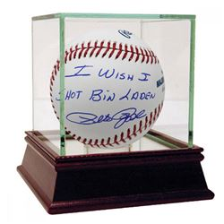 """Pete Rose Signed Baseball Inscribed """"I Wish I Shot Bin Laden"""" with High Quality Display Case (Steine"""