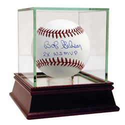 """Bob Gibson Signed OML Baseball Inscribed """"2X WS MVP"""" with High Quality Display Case (Steiner COA  ML"""