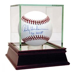 "Rickey Henderson Signed Baseball Inscribed ""90 MVP"" with High Quality Display Case (Steiner COA)"