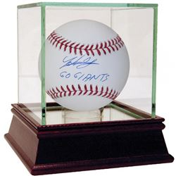 "Johnny Cueto Signed OML Baseball Inscribed ""Go Giants"" with High Quality Display Case (Steiner COA"