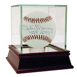 "Eddie Murray Signed Baseball Inscribed ""HOF 2003"" with High Quality Display Case (MLB Hologram  Stei"