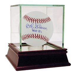 "Bob Gibson Signed OML Baseball Inscribed ""HOF 81"" with High Quality Display Case (Steiner COA  MLB H"