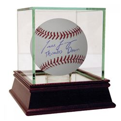 "Todd Frazier Signed Baseball Inscribed ""Thumbs Down"" with High Quality Display Case (Steiner COA)"
