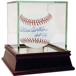 "Steve Carlton Signed Baseball Inscribed ""HOF 94"" with High Quality Display Case (Steiner COA)"