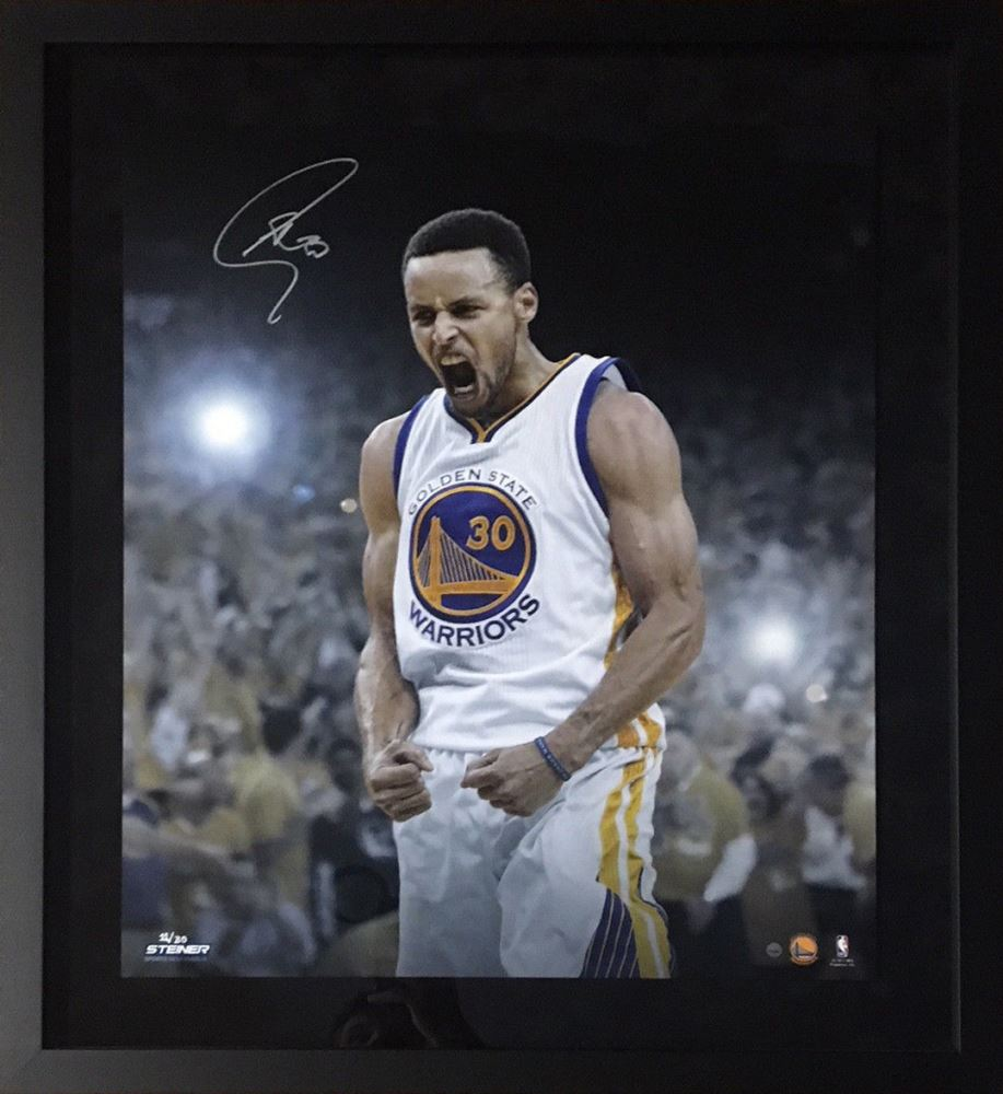buy online 903bf a0946 Stephen Curry Signed Warriors 20x24 Custom Framed ...