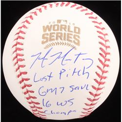 "Mike Montgomery Signed 2016 World Series LE Baseball Inscribed ""Last Pitch"", ""Game 7 Save""  ""2016 WS"