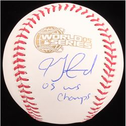 "Jon Garland Signed 2005 World Series Baseball Inscribed ""05 WS Champs"" (Schwartz COA)"