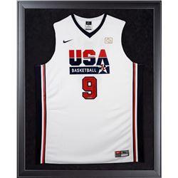 "Michael Jordan Signed Team USA LE 32x44 Custom Framed Jersey Display Inscribed ""HOF 2009"" (UDA COA)"