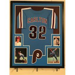 "Steve Carlton Signed Phillies 34x42 Custom Framed Jersey Inscribed ""Lefty"" (JSA COA)"
