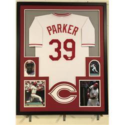 Dave Parker Signed Reds 34x42 Custom Framed Jersey (JSA COA)