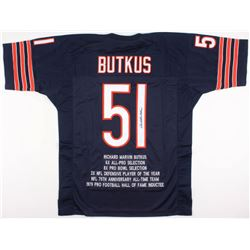 Dick Butkus Signed Bears Career Highlight Stat Jersey (JSA COA)