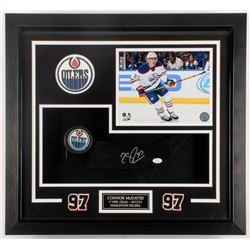 "Connor McDavid Signed Oilers ""1st NHL Goal"" 23x25x3 Custom Framed Shadowbox Display (JSA COA)"