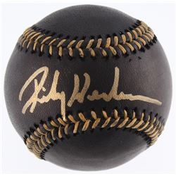 Ricky Henderson Signed OML Black Leather Baseball (JSA COA)