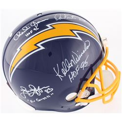 Chargers Full-Size On-Field Throwback Helmet Signed by (4) with Charlie Joiner, Dan Fouts, John Jeff