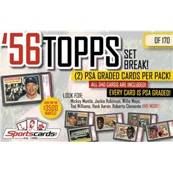 1956 TOPPS BASEBALL COMPLETE SET BREAK! - Mystery Box - (2) PSA GRADED Cards Per Pack!