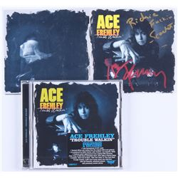 """Ace Frehley  Richie Scarlet Signed """"Trouble Walkin'"""" CD Insert Sleeve Inscribed """"F*****"""" (REAL LOA)"""