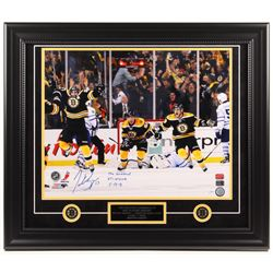 """Patrice Bergeron Signed Bruins LE 23.5x27.5 Custom Framed Photo Display Inscribed """"The Comeback"""", """"G"""