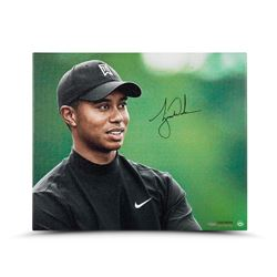 """Tiger Woods Signed """"Up Close  Personal"""" 20 x 24 Photo on Canvas (UDA COA)"""