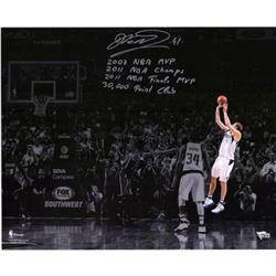 Dirk Nowitzki Signed LE Mavericks 16x20 Photo With Multiple Inscriptions (Fanatics Hologram)