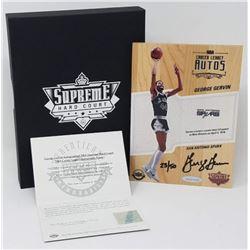 George Gervin Signed LE 2016-17 Upper Deck Supreme Hardcourt NBA Career Legacy Relic Floor (UDA COA)
