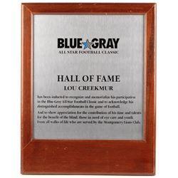 Lou Creekmur 15.75x20 Blue Gray All-Star Football Classic Hall of Fame Plaque
