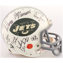 1969 New York Jets LE Full-Size Authentic On-Field Helmet Team Signed by (25) with Joe Namath, Don M