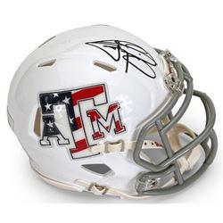 "Johnny Manziel Signed Texas AM Aggies ""Stars  Stripes"" Mini Speed Helmet (Panini COA)"