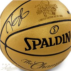 """Kevin Durant Signed Warriors LE 2018 NBA """"Back to Back"""" Finals Champions Gold Logo Basketball (Panin"""
