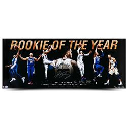"""Ben Simmons Signed 76ers """"Rookie Of The Year"""" 15x36 Photo Inscribed """"12 Tpl Dbl""""  (UDA COA)"""