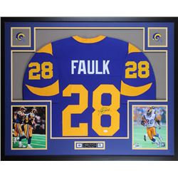 Marshall Faulk Signed Rams 35x43 Custom Framed Jersey Display (JSA COA)