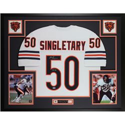 "Mike Singletary Signed Bears 35x43 Custom Framed Jersey Display Inscribed ""HOF 98"" (PSA COA)"