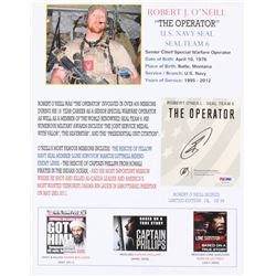 "Robert O'Neill Signed LE ""The Operator"" 11x14 Photo (PSA COA)"