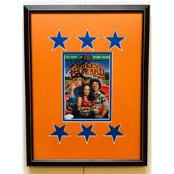 John Schneider, Tom Wopat  Catherine Bach Signed Dukes of Hazzard 13x17 Custom Framed DVD Display (J