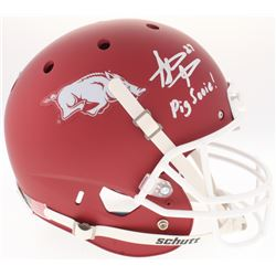 "Steve Atwater Signed Arkansas Razorbacks Full-Size Red Matte Helmet Inscribed ""Pig Sooie!"" (Radtke C"