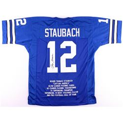 Roger Staubach Signed Cowboys Career Highlight Stat Jersey (JSA COA)