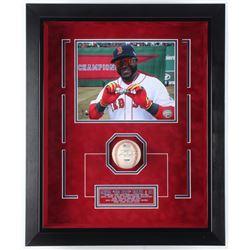 David Ortiz Signed Red Sox 18.75x22.75x3.75 Custom Framed Game-Ready 2013 Postseason Logo Baseball S